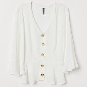 H&M Vneck Peplum White Blouse with buttons